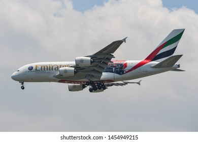 Bangkok, Thailand - Apr 21, 2018. Emirates A6-EUB (Airbus A380) landing at Bangkok Suvarnabhumi International Airport (BKK).