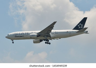 Bangkok, Thailand - Apr 21, 2018. SU-GBR EgyptAir Boeing 777-200ER (Star Alliance) landing at Bangkok Suvarnabhumi International Airport (BKK).