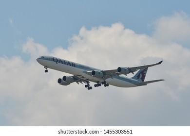Bangkok, Thailand - Apr 21, 2018. A7-AGD Qatar Airways Airbus A340-600 landing at Bangkok Suvarnabhumi International Airport (BKK).