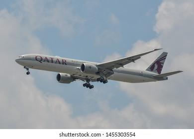 Bangkok, Thailand - Apr 21, 2018. Qatar Airways A7-BAV (Boeing 777-300ER) landing at Bangkok Suvarnabhumi International Airport (BKK).