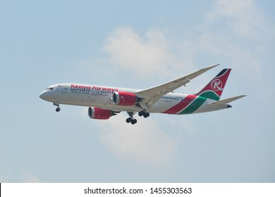 Bangkok, Thailand - Apr 21, 2018. 5Y-KZF Kenya Airways Boeing 787-8 Dreamliner landing at Bangkok Suvarnabhumi International Airport (BKK).