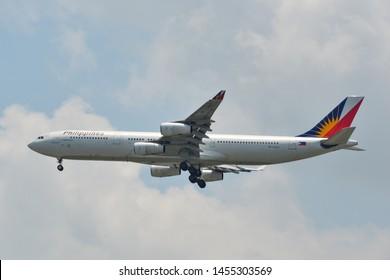Bangkok, Thailand - Apr 21, 2018. RP-C3437 Philippine Airlines Airbus A340-300 landing at Bangkok Suvarnabhumi International Airport (BKK).