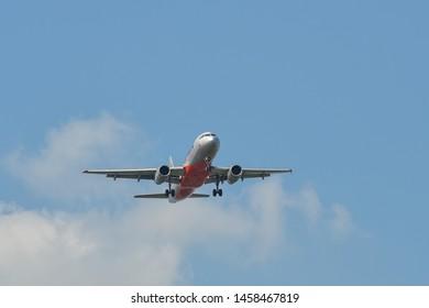 Bangkok, Thailand - Apr 21, 2018. Jetstar Airbus A320 landing at Bangkok Suvarnabhumi International Airport (BKK).