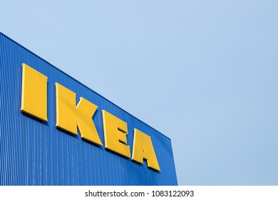 Bangkok, THAILAND - Apr 22: IKEA Building with the blue sky on Apr 22,2018 in Bangkok, Thailand. IKEA is a Swedish-founded that designs and sells furniture, kitchen appliances and home accessories