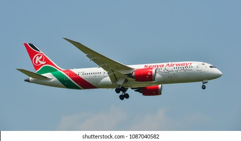 Bangkok, Thailand - Apr 23, 2018. A Boeing 787-8 Dreamliner of Kenya Airways landing at Bangkok Suvarnabhumi International Airport (BKK).