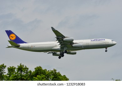 Bangkok, Thailand - Apr 23, 2018. An Airbus A340-300 airplane of Lufthansa landing at Bangkok Suvarnabhumi International Airport (BKK).