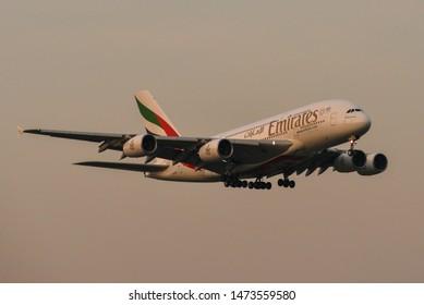 Bangkok, Thailand - Apr 23, 2018. Emirates Airbus A380 landing at Bangkok Suvarnabhumi International Airport (BKK).