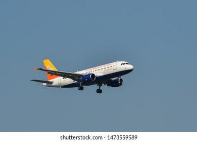 Bangkok, Thailand - Apr 23, 2018. Royal Bhutan Airlines (Airbus A319) landing at Bangkok Suvarnabhumi International Airport (BKK).