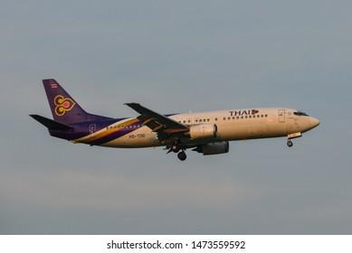 Bangkok, Thailand - Apr 23, 2018. Thai Airways HS-TDG (Boeing 737-800) landing at Bangkok Suvarnabhumi International Airport (BKK).