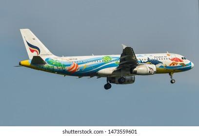Bangkok, Thailand - Apr 23, 2018. Bangkok Airways HS-PGW (Airbus A320) landing at Bangkok Suvarnabhumi International Airport (BKK).