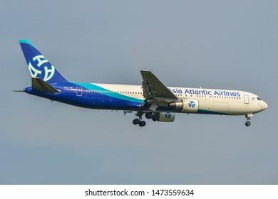 Bangkok, Thailand - Apr 23, 2018. Asia Atlantic Airlines HS-AAB (Boeing 767-300ER) landing at Bangkok Suvarnabhumi International Airport (BKK).