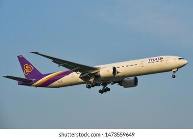 Bangkok, Thailand - Apr 23, 2018. HS-TKK Thai Airways Boeing 777-300ER landing at Bangkok Suvarnabhumi International Airport (BKK).