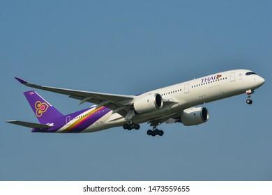 Bangkok, Thailand - Apr 23, 2018. Thai Airways HS-THL (Airbus A350-900) landing at Bangkok Suvarnabhumi International Airport (BKK).