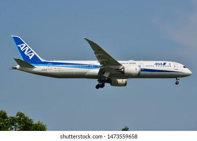 Bangkok, Thailand - Apr 23, 2018. JA893A All Nippon Airways Boeing 787-9 Dreamliner landing at Bangkok Suvarnabhumi Airport (BKK).