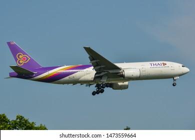 Bangkok, Thailand - Apr 23, 2018. Thai Airways HS-TJW (Boeing 777-200ER) landing at Bangkok Suvarnabhumi International Airport (BKK).