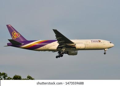 Bangkok, Thailand - Apr 23, 2018. Thai Airways HS-TJG (Boeing 777-200) landing at Bangkok Suvarnabhumi International Airport (BKK).