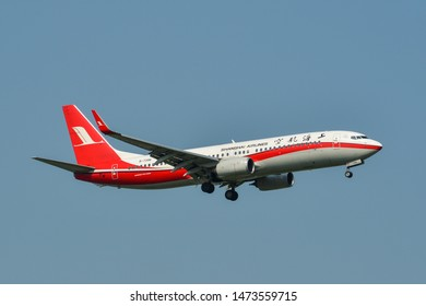 Bangkok, Thailand - Apr 23, 2018. B-7396 Shanghai Airlines Boeing 737-800 landing at Bangkok Suvarnabhumi International Airport (BKK).