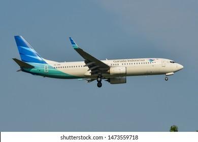 Bangkok, Thailand - Apr 23, 2018. PK-GNO Garuda Indonesia Boeing 737-800 landing at Bangkok Suvarnabhumi International Airport (BKK).