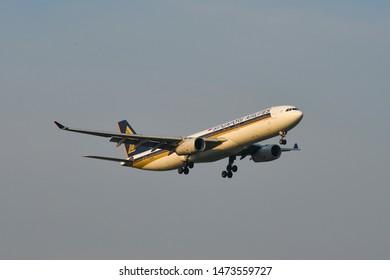 Bangkok, Thailand - Apr 23, 2018. Airbus A330-300 (9V-STB) Singapore Airlines landing at Bangkok Suvarnabhumi International Airport (BKK).