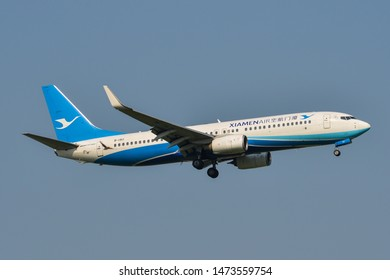 Bangkok, Thailand - Apr 23, 2018. B-1911 Xiamen Airlines Boeing 737-800 landing at Bangkok Suvarnabhumi International Airport (BKK).