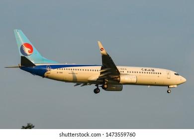 Bangkok, Thailand - Apr 23, 2018. B-1561 Hebei Airlines Boeing 737-800 landing at Bangkok Suvarnabhumi International Airport (BKK).