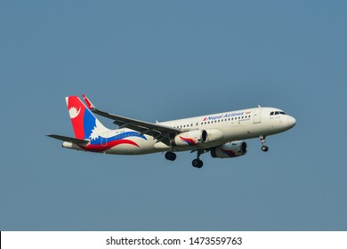 Bangkok, Thailand - Apr 23, 2018. 9N-AKW Nepal Airlines Airbus A320 landing at Bangkok Suvarnabhumi International Airport (BKK).