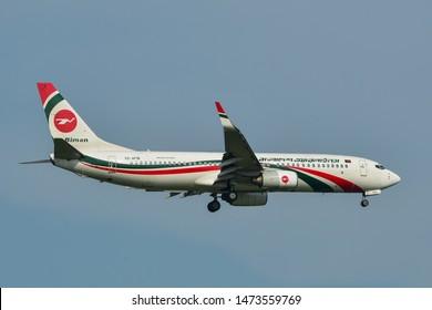 Bangkok, Thailand - Apr 23, 2018. S2-AFM Biman Bangladesh Airlines Boeing 737-800 landing at Bangkok Suvarnabhumi International Airport (BKK).