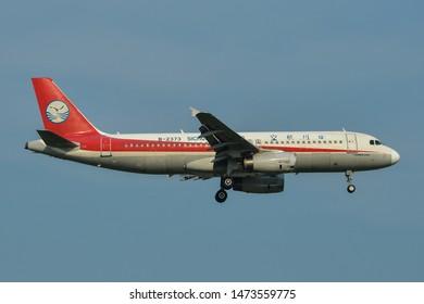 Bangkok, Thailand - Apr 23, 2018. B-2373 Sichuan Airlines Airbus A320 landing at Bangkok Suvarnabhumi International Airport (BKK).