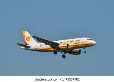 Bangkok, Thailand - Apr 23, 2018. Bhutan Airlines A5-BAC (Airbus A319) landing at Bangkok Suvarnabhumi International Airport (BKK).
