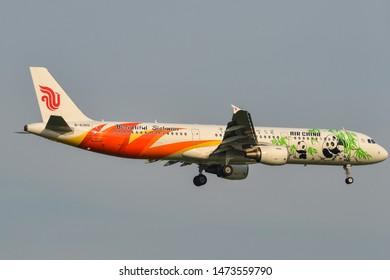 Bangkok, Thailand - Apr 23, 2018. B-6365 Air China Airbus A321 (Beautiful Sichuan Livery) landing at Bangkok Suvarnabhumi International Airport (BKK).