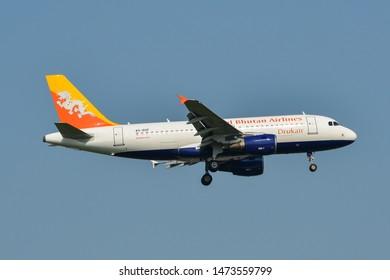 Bangkok, Thailand - Apr 23, 2018. A5-RGF Royal Bhutan Airlines (Druk Air) Airbus A319 landing at Bangkok Suvarnabhumi International Airport (BKK).