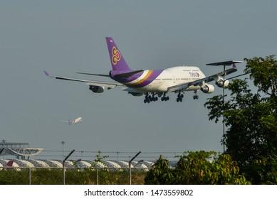 Bangkok, Thailand - Apr 23, 2018. Thai Airways HS-TGZ (Boeing 747-400) landing at Bangkok Suvarnabhumi International Airport (BKK).