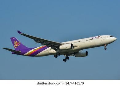 Bangkok, Thailand - Apr 23, 2018. Thai Airways HS-TEP (Airbus A330-300) landing at Bangkok Suvarnabhumi International Airport (BKK).