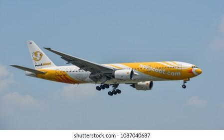 Bangkok, Thailand - Apr 24, 2018. A Boeing 777 aircraft of NokScoot landing at Bangkok Don Muang International Airport (DMK).