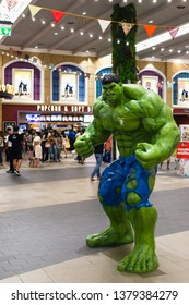 Bangkok, Thailand - Apr 24, 2019: Avengers 4 Endgame character model Hulk in front of the Theatre with People queing up to buy tickets at cinema to see the Avengers Endgame.