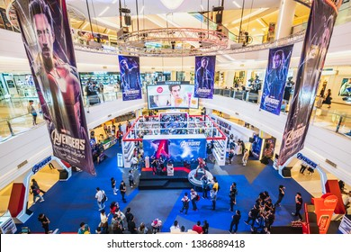 Bangkok, Thailand - Apr 25, 2019: Crowded people attending Avengers Endgame exhibition booth in shopping mall. Movie promotional advertisement event, or film industry marketing concept