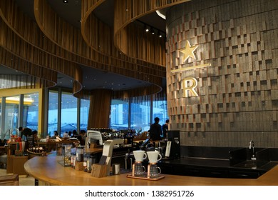 BANGKOK, THAILAND - APR 5, 2019: Interior view of Starbucks Reserve in Icon Siam Mall. Starbucks Reserve is a selection of the rarest and most extraordinary coffees offer to the customers.