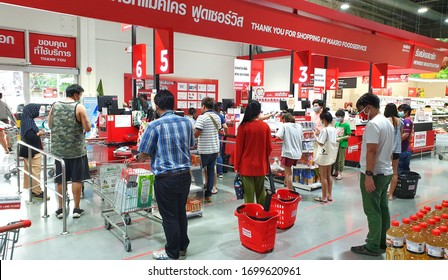 BANGKOK, THAILAND - APR 7: Food products display at Makro supermarket in Bangkok on April 7, 2020. Makro is an originally wholesale center in Thailand, also called cash and carries.