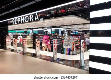 BANGKOK, THAILAND - APR 8, 2019: Sephora make up and perfume store in Siam Center. Sephora is a French chain of cosmetics stores, featuring nearly 300 brands along with its own private label.