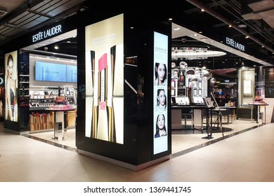BANGKOK, THAILAND - APR 8, 2019: Estee Lauder cosmetic store in Siam Center Mall. The Estee Lauder Companies is an American manufacturer of prestige skincare, makeup, fragrance and haircare product.