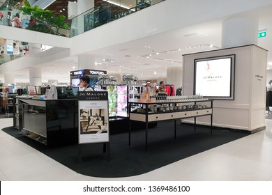 BANGKOK, THAILAND - APR 8, 2019: Jo Malone London cosmetics store in Siam Discovery Mall. Joanne Lesley Malone MBE is a British perfumer, the founder of Jo Malone London and Jo Loves.