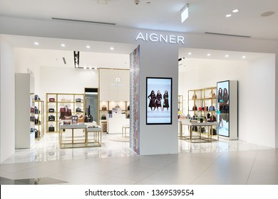 BANGKOK, THAILAND - APR 8, 2019: Aigner store in Siam Discovery Mall. Aigner companies produce luxury goods including handbags, shoes, womens ready to wear, wallets, leather accessories and more.