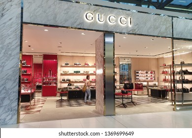 BANGKOK, THAILAND - APR 8, 2019: Gucci store at Suvarnabhumi Airport, Thailand. Gucci is an Italian luxury brand of fashion and leather goods.