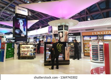 BANGKOK, THAILAND - APR 8, 2019: Various brand cosmetic store at Suvarnabhumi Airport, Thailand. Cosmetics are the most accessible product with counters in upmarket department stores across the world.
