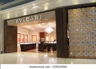 BANGKOK, THAILAND - APR 8, 2019: Bvlgari fashion store at Suvarnabhumi Airport, Thailand. Bvlgari is an Italian jewelry and luxury goods brand.