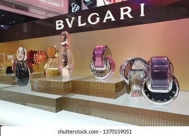 BANGKOK, THAILAND - APR 8, 2019: Bvlgari perfume rack at Suvarnabhumi Airport, Thailand. Bvlgari is an Italian jewelry and luxury goods brand. It is partially owned by Luxottica in Milan.