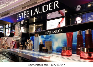 BANGKOK, THAILAND - APR 8, 2019: Estee Lauder store at Suvarnabhumi Airport. The Estee Lauder Companies is an American manufacturer of prestige skincare, makeup, fragrance and haircare product.