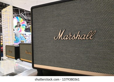 BANGKOK, THAILAND - APR 8, 2019: Close up Marshall bluetooth amp speaker on display in the music store. Marshall is the iconic brands on the music industry.
