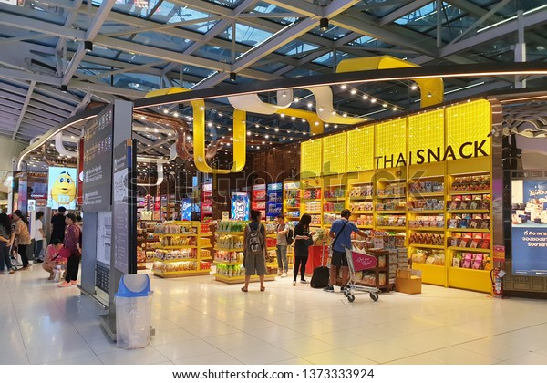 BANGKOK, THAILAND - APR 8, 2019: Thai snack and Chocolate store at Suvarnabhumi Airport, Thailand, one of the biggest international airports in Southeast Asia and a regional hub for aviation.