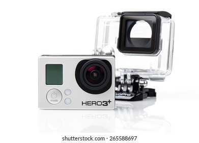 BANGKOK, THAILAND - APRIL 01, 2015: GoPro HERO3+ Black Edition and housing isolated on white background. GoPro is a brand of cameras, often used in extreme action video photography.